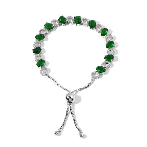 Simulated Emerald and Simulated White Diamond Bracelet (Size 6.5 -8.5 Adjustable) in Silver Tone