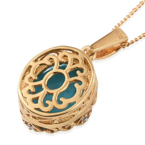 Arizona Sleeping Beauty Turquoise (Ovl), White Topaz Pendant With Chain (Size 18) in 14K Gold Overlay Sterling Silver 3.750 Ct.