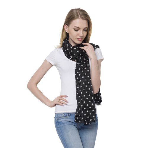 100% Mulberry Silk White Colour Polka Dots Pattern Black Colour Scarf (Size 180x110 Cm)