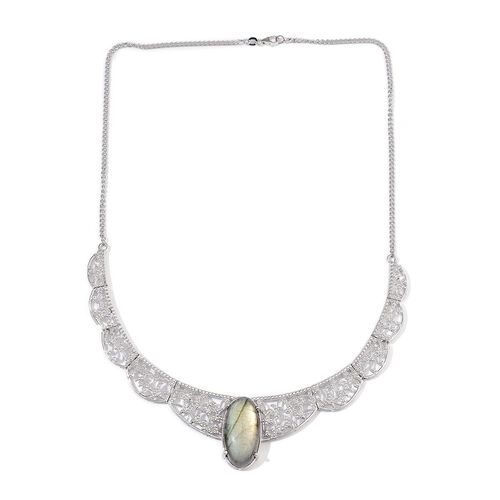 Labradorite (Ovl) Necklace (Size 17.5) in Platinum Overlay Sterling Silver 25.000 Ct.