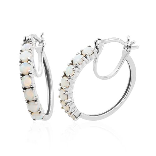 Australian White Opal (Rnd) Hoop Earrings (with Clasp) in Platinum Overlay Sterling Silver 1.250 Ct.