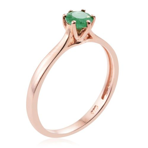 Zambian Emerald 0.50 Carat Silver Solitaire Ring in Rose Gold Overlay