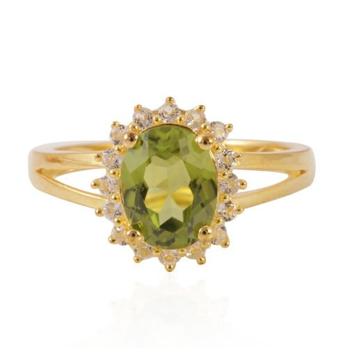 AA Hebei Peridot (Ovl 2.00 Ct), White Topaz Ring in Yellow Gold Overlay Sterling Silver 2.100 Ct.