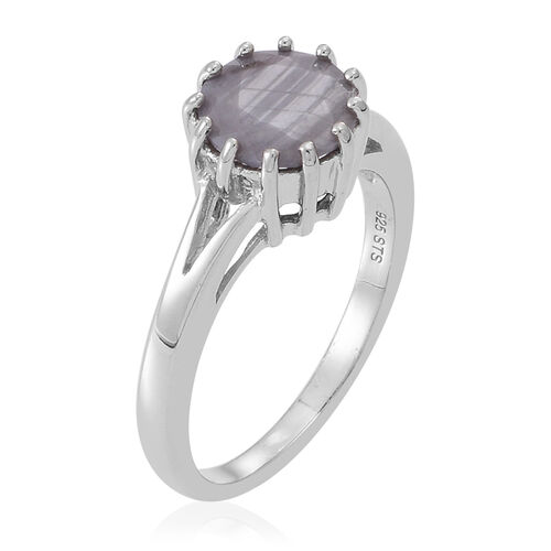 Natural Silver Sapphire (Rnd) Solitaire Ring in Rhodium Plated Sterling Silver 2.500 Ct.