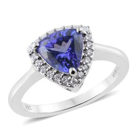 ILIANA 18K White Gold 1.75 Ct AAA Tanzanite Trillion Halo Ring with Diamond SI G-H