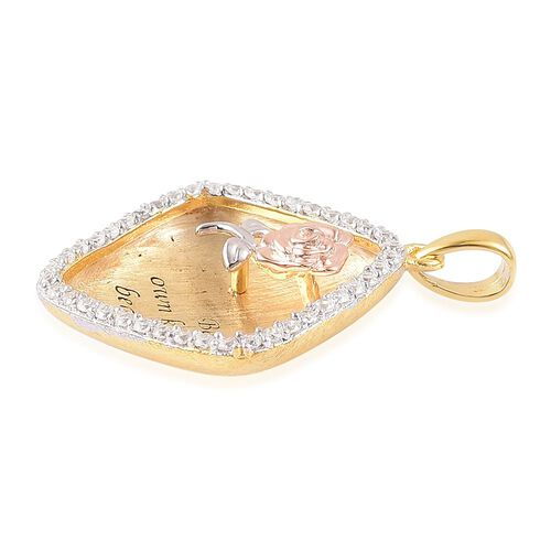 ELANZA AAA Simulated White Diamond Inspirational Pendant with Flower in Yellow and Rose Gold Overlay Sterling Silver