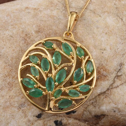 Kagem Zambian Emerald (Mrq) Tree of Life Pendant With Chain in 14K Gold Overlay Sterling Silver 1.750 Ct.
