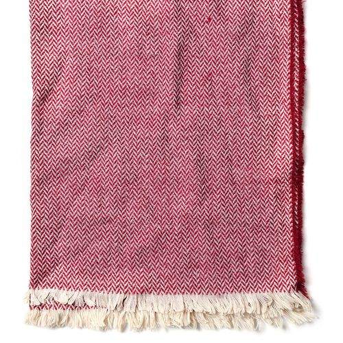 Burgundy and Khaki Colour Zig Zag Pattern Scarf with Fringes (200x70 Cm)