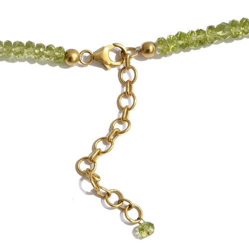 Limited Available- Designer Inspired AAA Hebei Peridot (Rnd) Hand Made Waterfall Necklace (Size 18) in Yellow Gold Overlay Sterling Silver 117.600 Ct. Silver wt 6.00 Gms.
