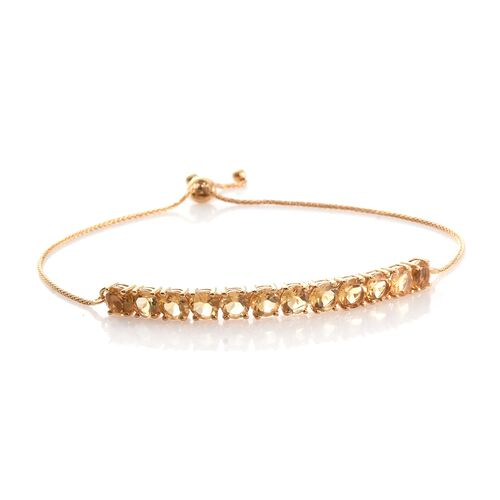 Citrine 5 Carat Silver Adjustable Bracelet in Gold Overlay (Size 6.5 to 8.5)