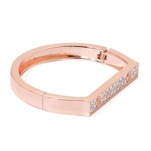 Designer Inspired - White Austrian Crystal Bangle (Size 7) in Rose Gold Tone