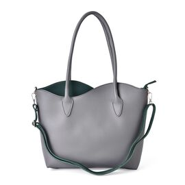 Grey and Green Colour Both Side Wearable City Tote Bag with Adjustable and Removable Shoulder Strap (Size 41x31x27.5x8 Cm)