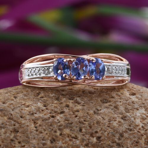 Tanzanite, Diamond 0.50 Carat Ring in Rose Gold Overlay Sterling Silver