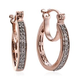 Diamond (Rnd) Hoop Earrings (with Clasp) in Rose Gold Overlay Sterling Silver 0.250 Ct.