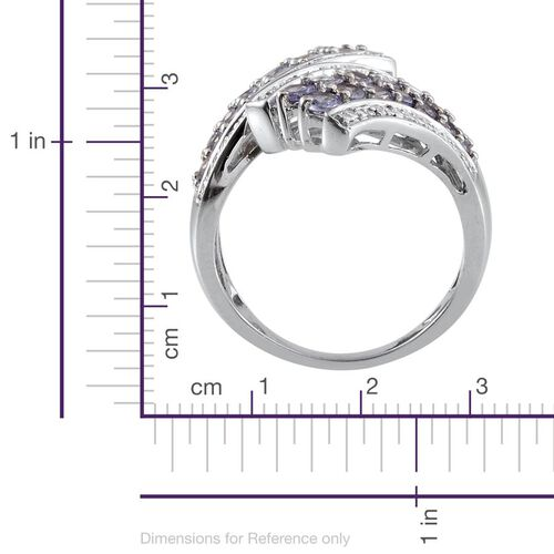 Tanzanite (Rnd), Diamond Crossover Ring in Platinum Overlay Sterling Silver 1.770 Ct.
