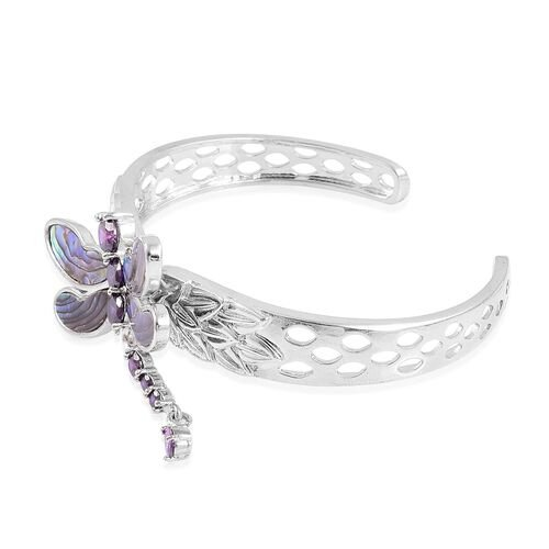 Limited Edition - Abalone Shell and Simulated Amethyst Dragon Fly Cuff Bangle (Size 7.5) in Silver Tone