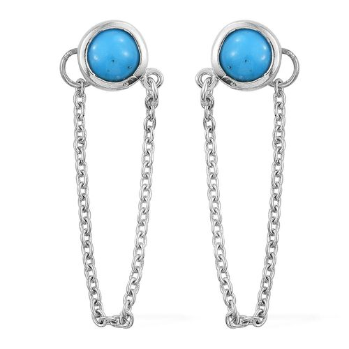 Arizona Sleeping Beauty Turquoise (Rnd) Earrings (with Push Back) in Platinum Overlay Sterling Silver 1.000 Ct.