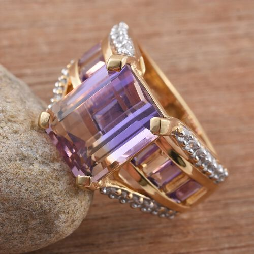 Anahi Ametrine (Oct 6.20 Ct), Amethyst, Citrine and Natural Cambodian Zircon Ring in 14K Gold Overlay Sterling Silver 8.500 Ct.