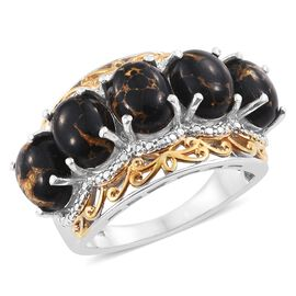 Arizona Mojave Black Turquoise (Ovl) 5 Stone Ring in Platinum and Yellow Gold Overlay Sterling Silver 8.000 Ct.