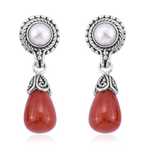 Royal Bali Collection Red Jade and Fresh Water Pearl Earrings (with Push Back) in Sterling Silver 20.130 Ct. Silver wt 5.61 Gms.