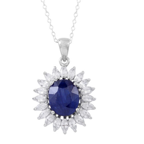 Rare Size Madagascar Blue Sapphire (Ovl 5.35 Ct), Natural White Cambodian Zircon Pendant With Chain in Rhodium Plated Sterling Silver 7.350 Ct.
