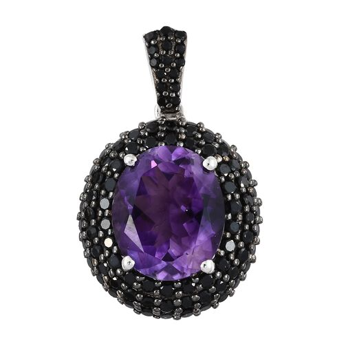 Moroccan Amethyst (Ovl 4.50 Ct), Boi Ploi Black Spinel Pendant in Black and Platinum Overlay Sterling Silver 6.250 Ct.