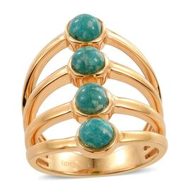 Russian Amazonite (Rnd) Ring in ION Plated 18K Yellow Gold Bond 2.500 Ct.