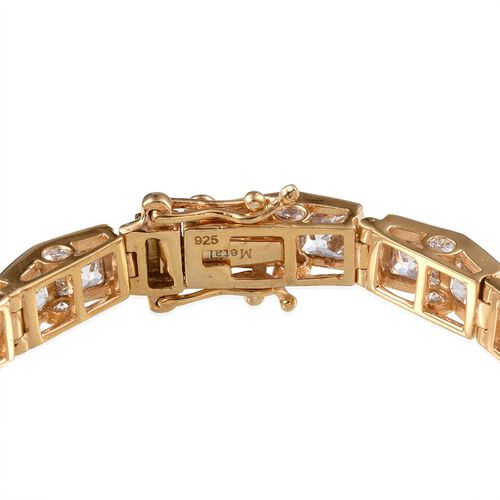 J Francis - 14K Gold Overlay Sterling Silver (Sqr) Bracelet Made With SWAROVSKI ZIRCONIA (Size 7) 21.000 Ct.