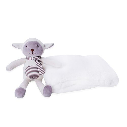 White Colour Plush Blanket (Size 100X75 Cm) and Lamb Soft Toy for Kids