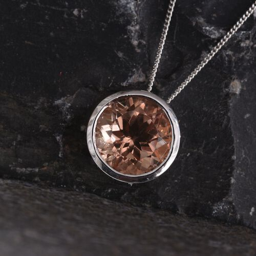 Galileia Blush Pink Quartz (Rnd) Solitaire Pendant With Chain in Platinum Overlay Sterling Silver 5.500 Ct.