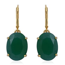 Verde Onyx (Ovl) Lever Back Earrings in 14K Gold Overlay Sterling Silver 16.000 Ct.