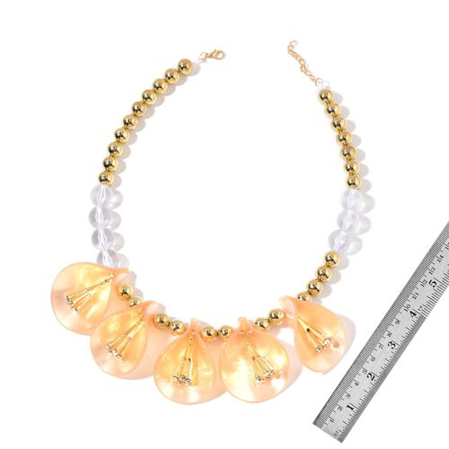 White Austrian Crystal and Simulated Pearl Yellow Lily Floral BIB Necklace (Size 20 with 2 inch Extender) in Yellow Gold Tone