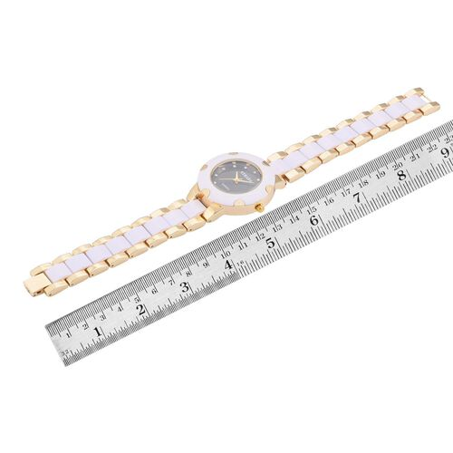 STRADA Japanese Movement White Austrian Crystal Studded Black Dial Water Resistant Watch in Gold Tone with Stainless Steel Back and White Strap
