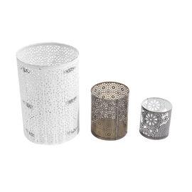 Set of 3 Jar Cut Work Metal Tea Light Candle Holders (Small/ Medium/ Large)