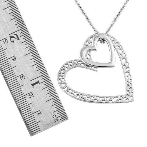 RACHEL GALLEY Rhodium Plated Sterling Silver Heart Pendant With Chain (Size 30), Silver wt 14.69 Gms.