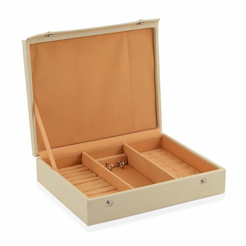 Faux Leather Beige Colour Jewellery Box (Size 25X20 Cm)