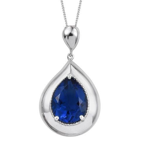 Ceylon Colour Quartz (Pear) Solitaire Pendant With Chain in Platinum Overlay Sterling Silver 8.000 Ct.