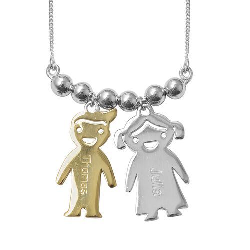 Girl and Boy Necklace in Platinum and Gold Plated Silver 18 Inch 6.33 Gms