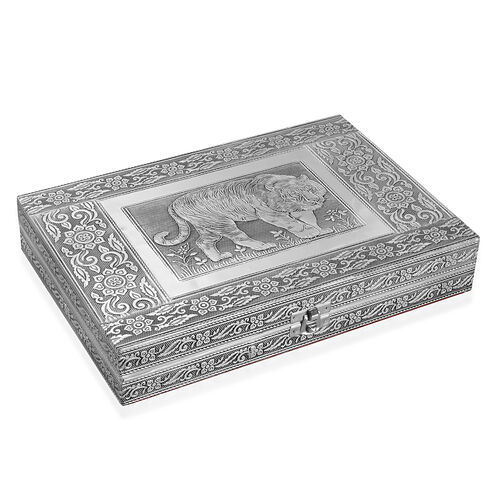 Limited Edition - Handcrafted Tiger Embossed 80 Slots Ring Box with Red Velvet and Mirror Inside (Size 28X19X5 Cm)