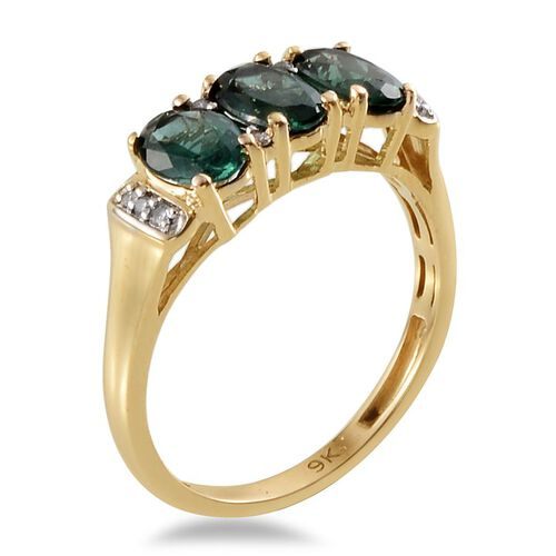 9K Y Gold Ocean Blue Apatite (Ovl), Diamond Ring 2.800 Ct.