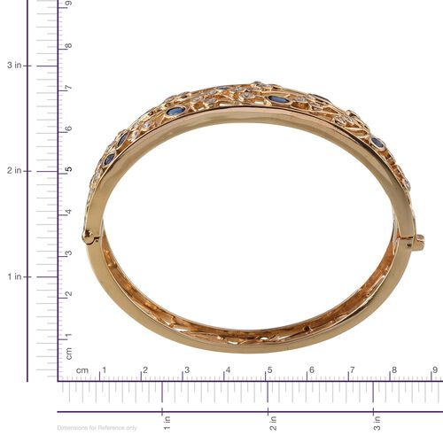 Kanchanaburi Blue Sapphire (Ovl), Simulated Diamond Bangle in 14K Gold Overlay Sterling Silver (Size 7.5) 5.500 Ct.