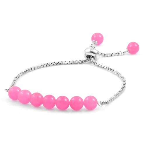 Pink Jade Ball Beads Bolo Bracelet (Size 6.5 to 7.5) in Rhodium Plated Sterling Silver 16.470 Ct.