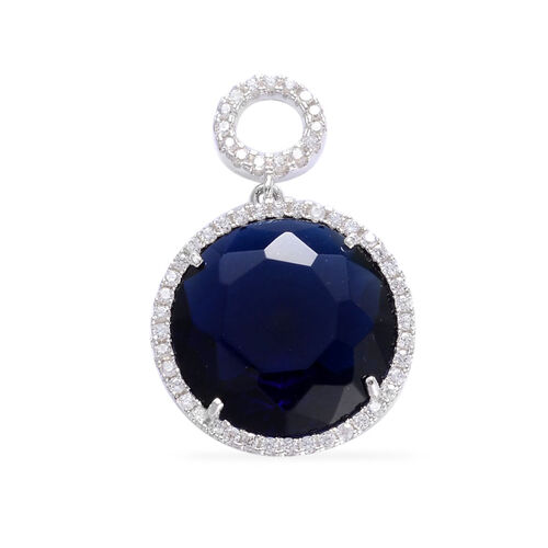 Blue Glass, Simulated White Diamond Pendant in Rhodium Plated Sterling Silver