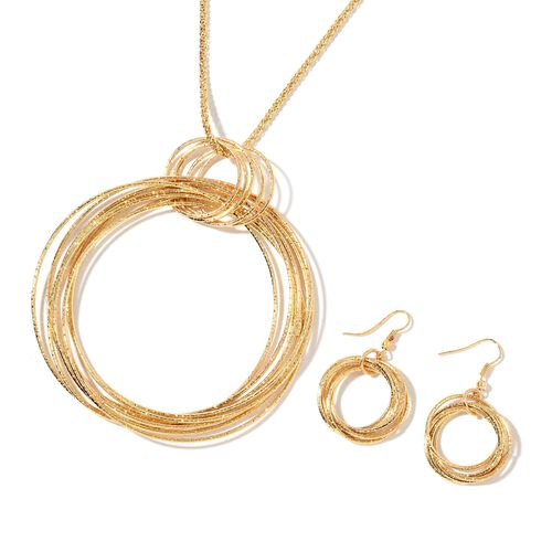 Designer Inspired - Circle Pendant with Chain (Size 28) and Hook Earrings in Yellow Gold Tone