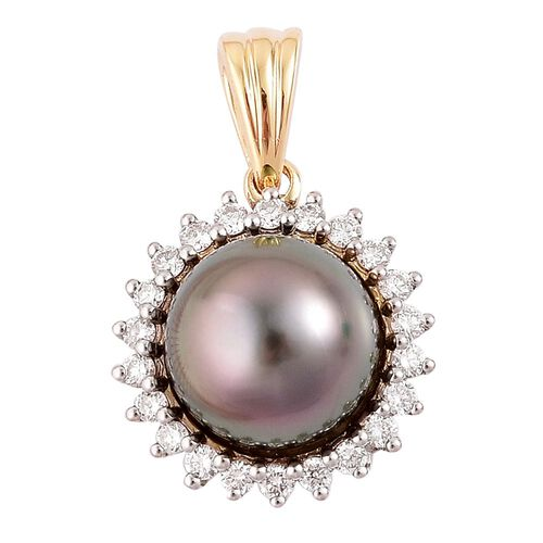 ILIANA 18K Yellow Gold AAAA Tahitian Pearl (Rnd 8-9mm), Diamond (SI G-H) Pendant