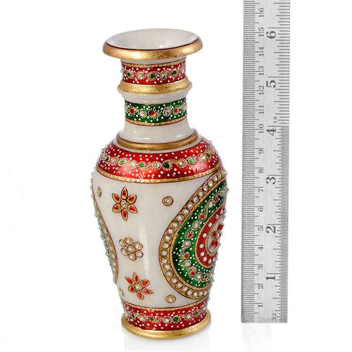 Jewels of India Hand Crafted Crystal Studded and Green Enamelled Marble Vase (Size 6)