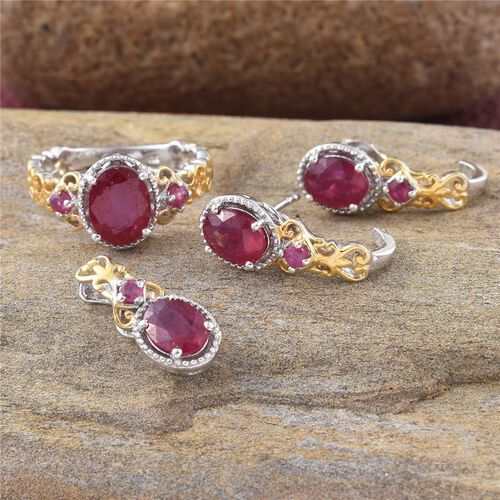 African Ruby (Ovl) Ring, Pendant and Stud Earrings (with Push Back) in Platinum and Yellow Gold Overlay Sterling Silver 8.500 Ct.