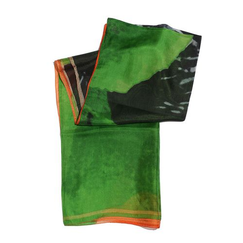 100% Mulberry Silk Green, Orange and Black Colour Printed Scarf (Size 180x100 Cm)