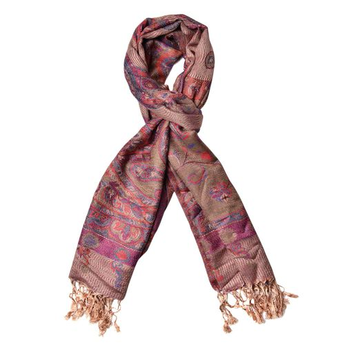 Multi Colour Circle Pattern Chocolate Colour Scarf with Fringes (Size 180x68 Cm)