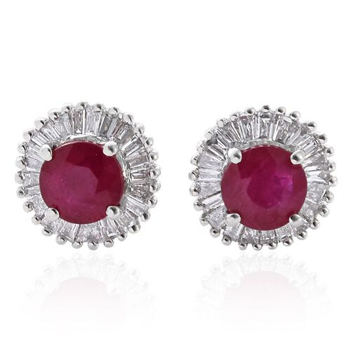 RHAPSODY 950 Platinum Burmese Ruby (Rnd), Diamond Stud Earrings (with Screw Back) 1.330 Ct.